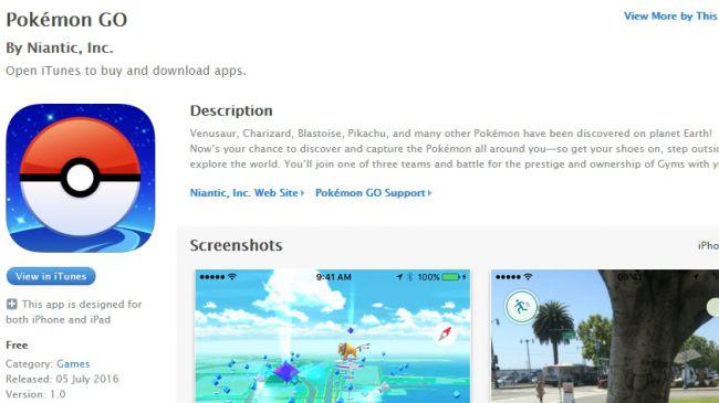 Pokemon go ios version